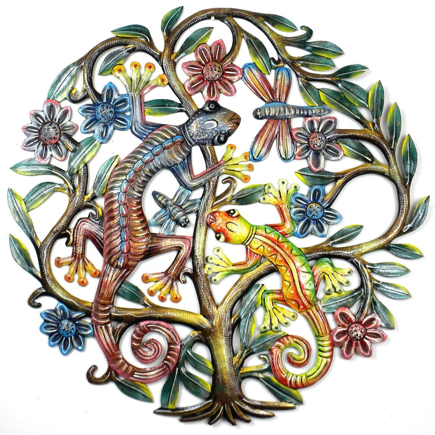 24 inch Painted Gecko Tree of Life - Croix des Bouquets image 2
