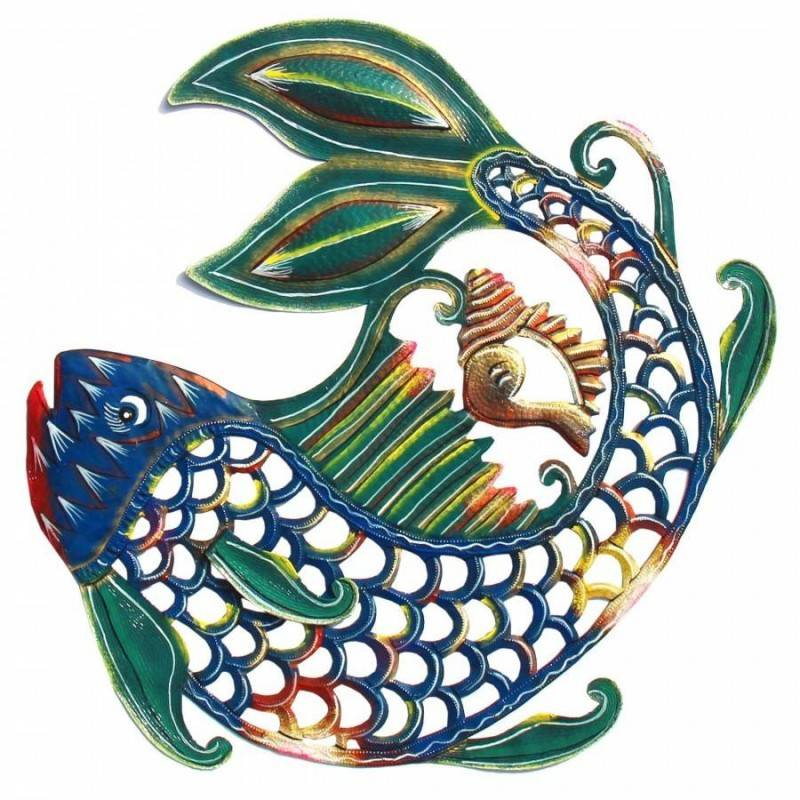 24 inch Painted Fish & Shell - Caribbean Craft image 2