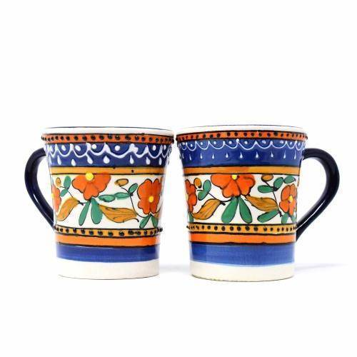 Flared Coffee Cups - Orange and Blue, Set of Two - Encantada image 2