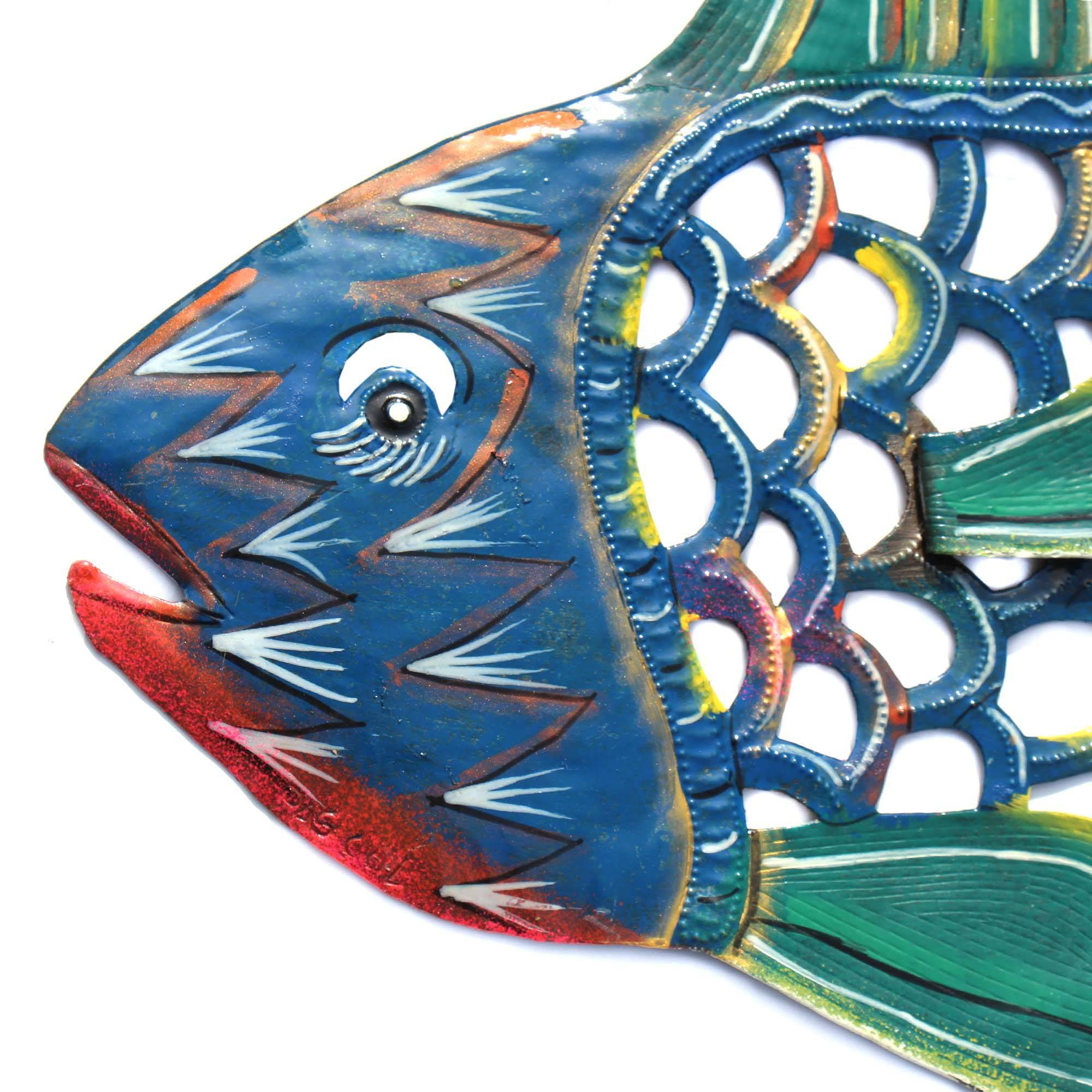 24 inch Painted Fish & Shell - Caribbean Craft image 3