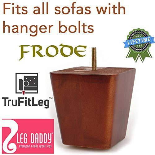 "Leg Daddy TruFitLeg FRODE 4"" Walnut Finish Square Tapered Wooden Sofa Legs, Fits on All Furniture with Hanger Bolt Attachments"