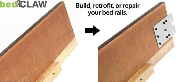 Bed Claw Retro-Hook Plates for Wooden Bed Rail Restoration, Set of 4 with Screws, Bed Frame image 3