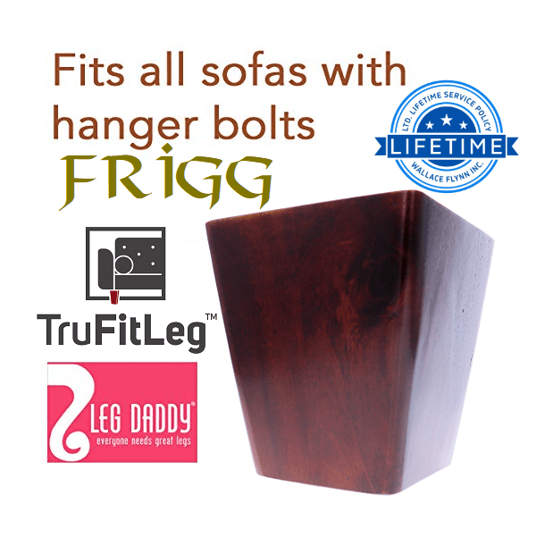 """Leg Daddy TruFitLeg FRIGG 4"""" Dark Finish Square Tapered Wooden Sofa Legs, Fits on All Furniture with Hanger Bolt Attachments"""