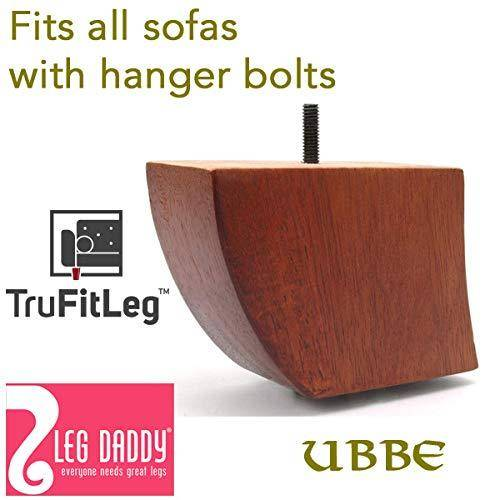 """Leg Daddy TruFitLeg UBBE - 3-3/4"""" Walnut Finish Bent Sofa Leg, Fits on All Furniture with Hanger Bolt Attachments"""
