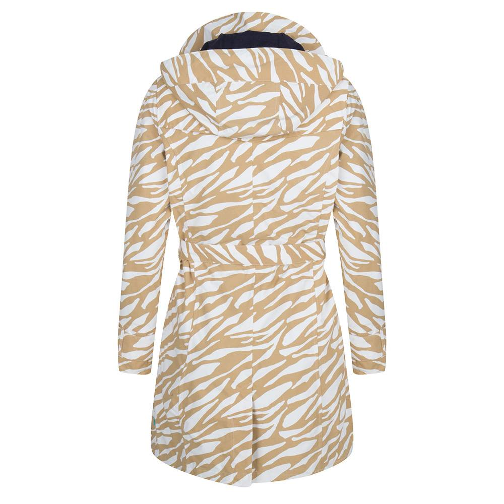 Happy Rainy Days Trench Coat, Beige and White Zebra Pattern, Color: Beige/White Zebra, Size: S image 2