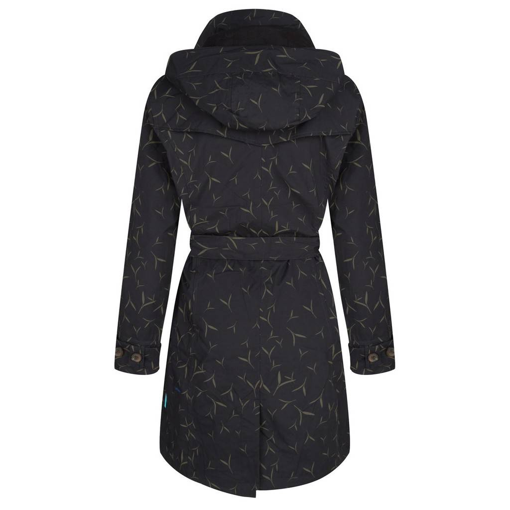 Happy Rainy Days Trench Coat, Black with Sand Pattern, Color: Black/Sand Pattern, Size: S image 2