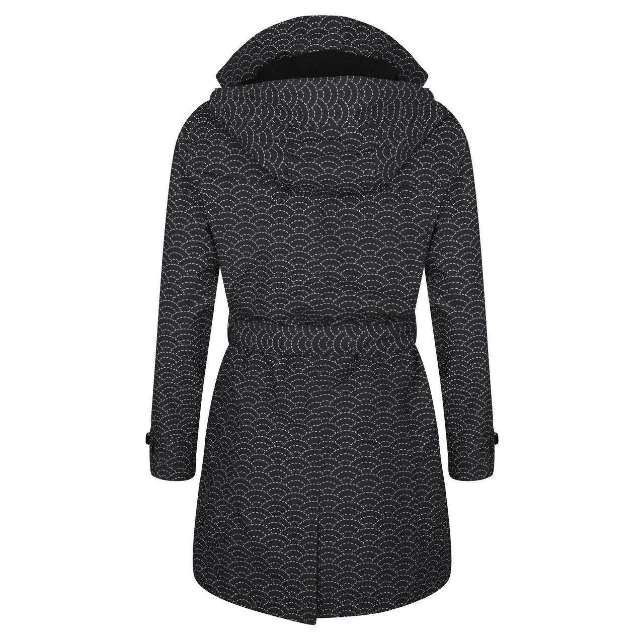 Happy Rainy Days Trench Coat, Black with White Pattern, Color: Black/White Pattern, Size: L image 2