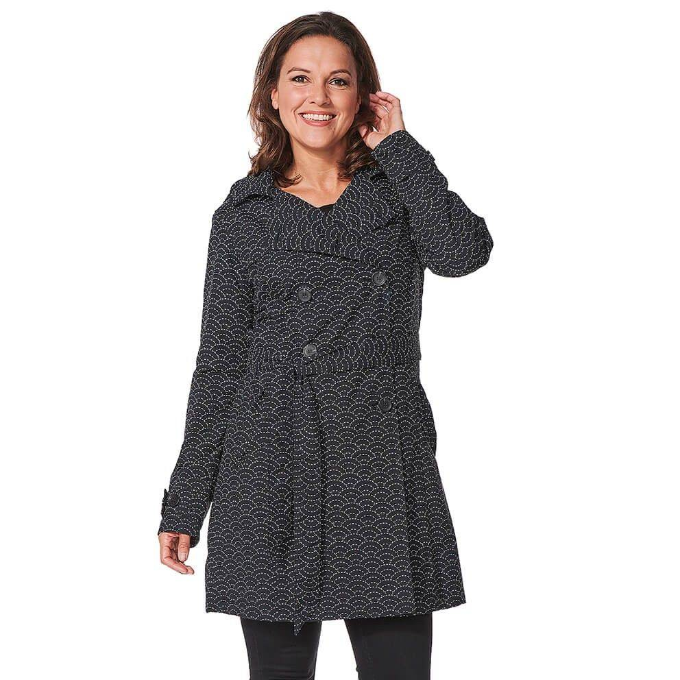 Happy Rainy Days Trench Coat, Black with White Pattern, Color: Black/White Pattern, Size: M image 3