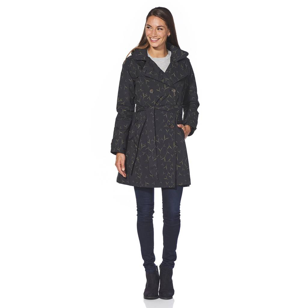 Happy Rainy Days Trench Coat, Black with Sand Pattern, Color: Black/Sand Pattern, Size: S image 3