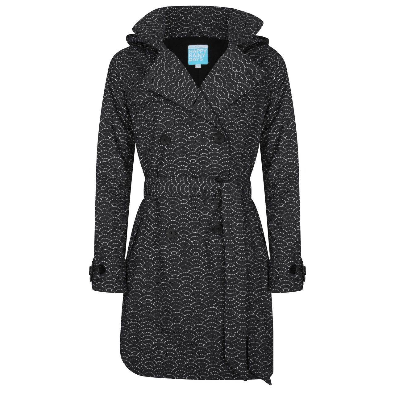 Happy Rainy Days Trench Coat, Black with White Pattern, Color: Black/White Pattern, Size: M