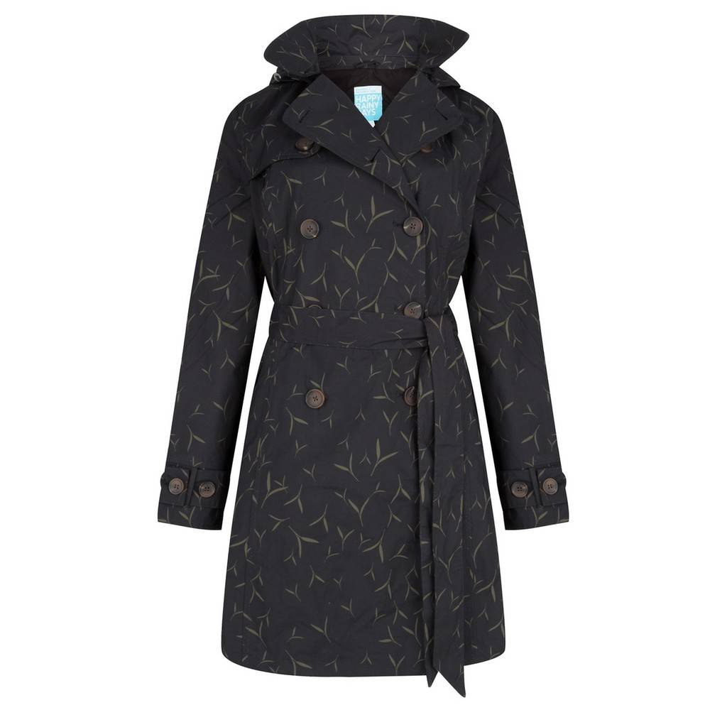 Happy Rainy Days Trench Coat, Black with Sand Pattern, Color: Black/Sand Pattern, Size: L