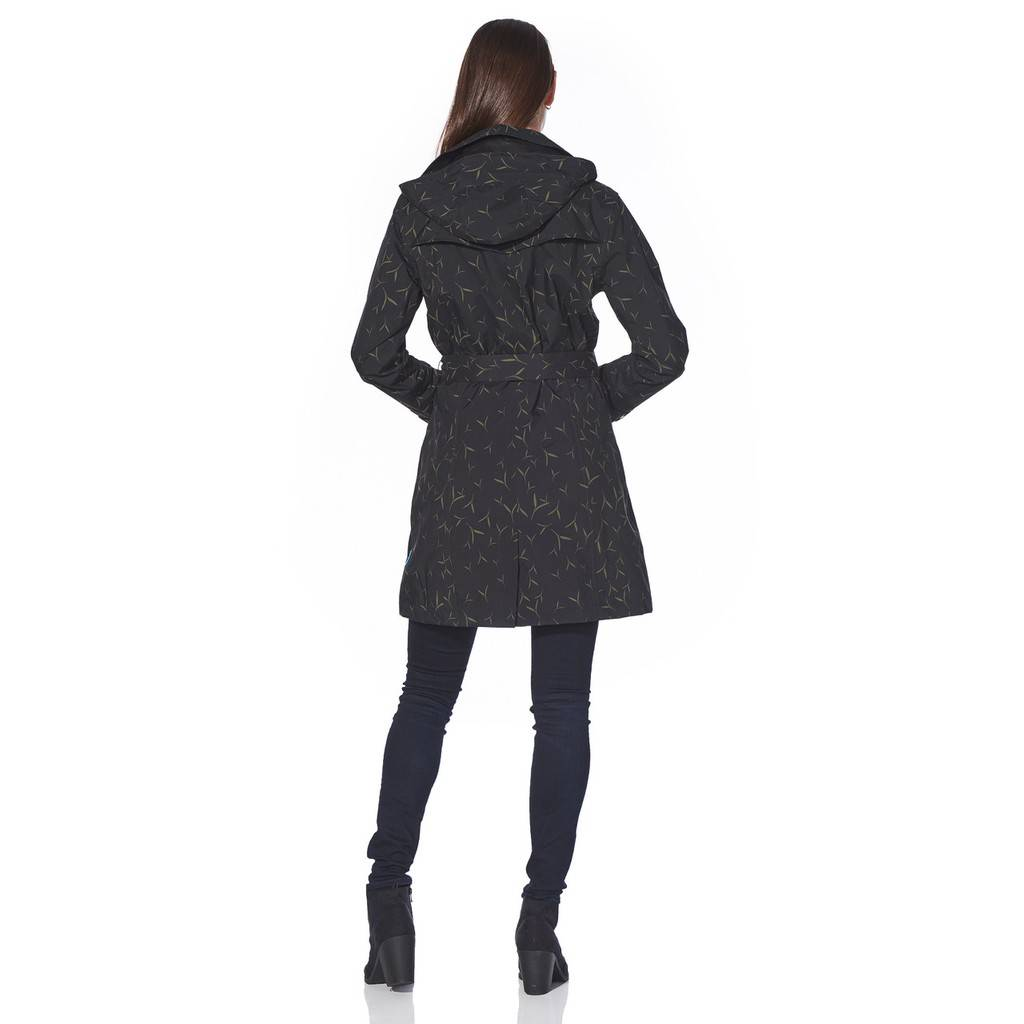 Happy Rainy Days Trench Coat, Black with Sand Pattern, Color: Black/Sand Pattern, Size: L image 4