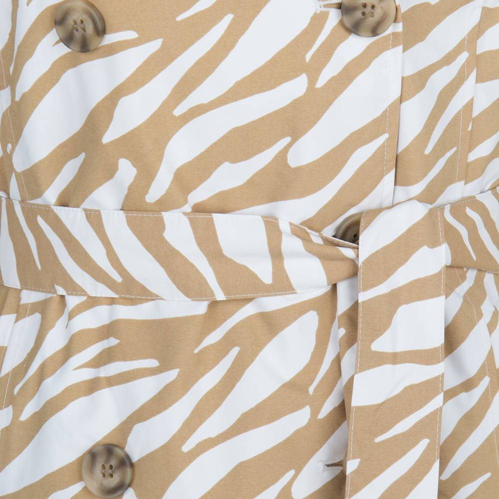 Happy Rainy Days Trench Coat, Beige and White Zebra Pattern, Color: Beige/White Zebra, Size: S image 3