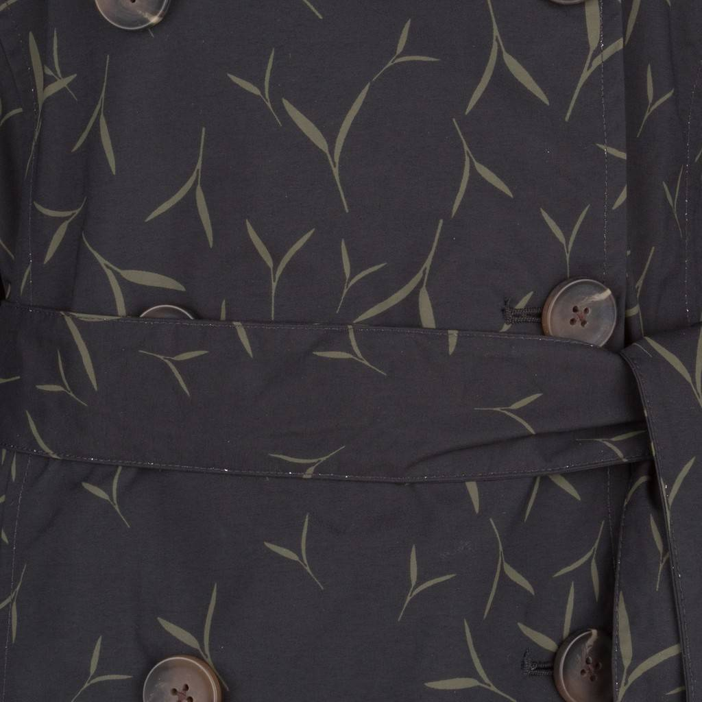Happy Rainy Days Trench Coat, Black with Sand Pattern, Color: Black/Sand Pattern, Size: L image 5