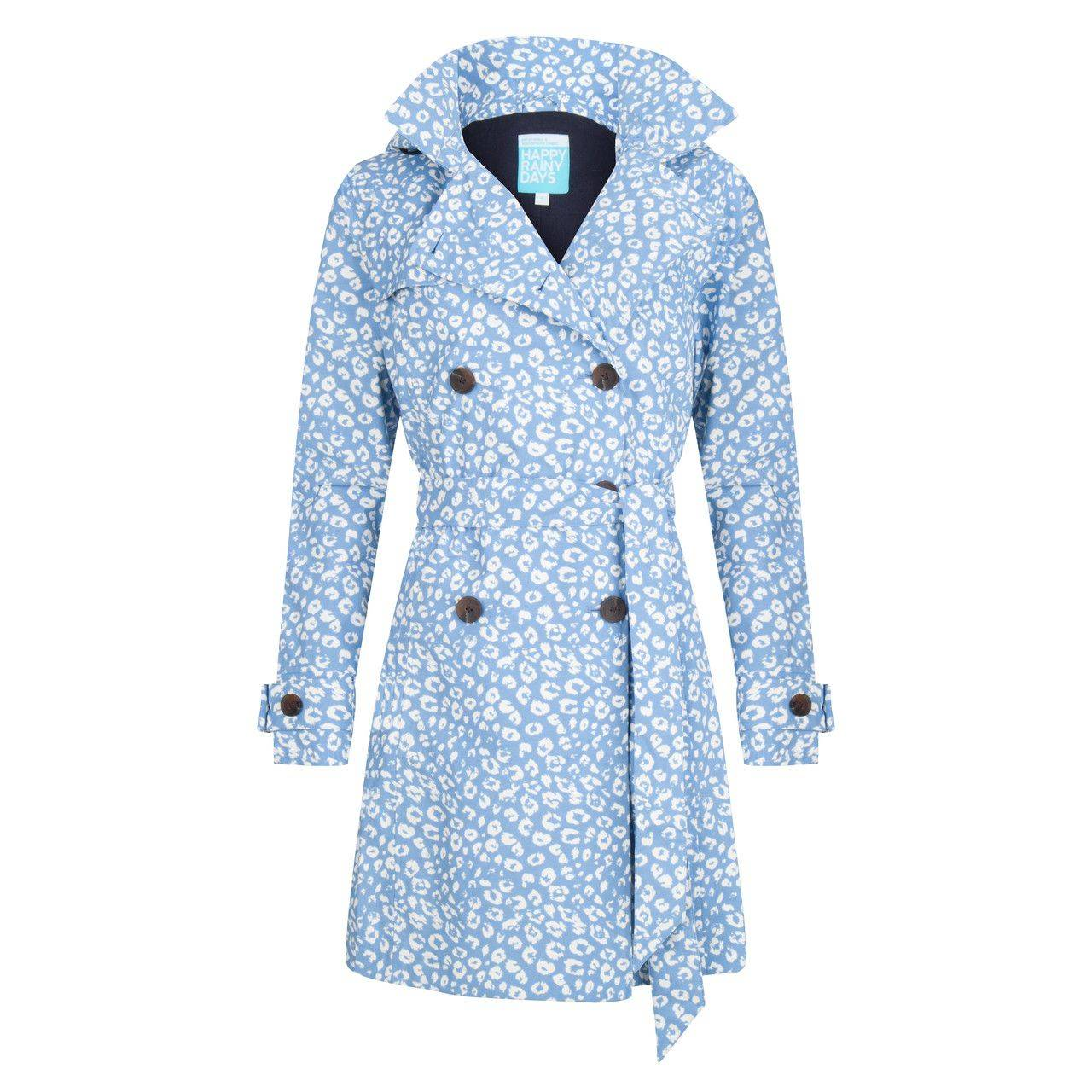 Happy Rainy Days Trench Coat, Light Blue/White, Color: Light Blue/White, Size: S