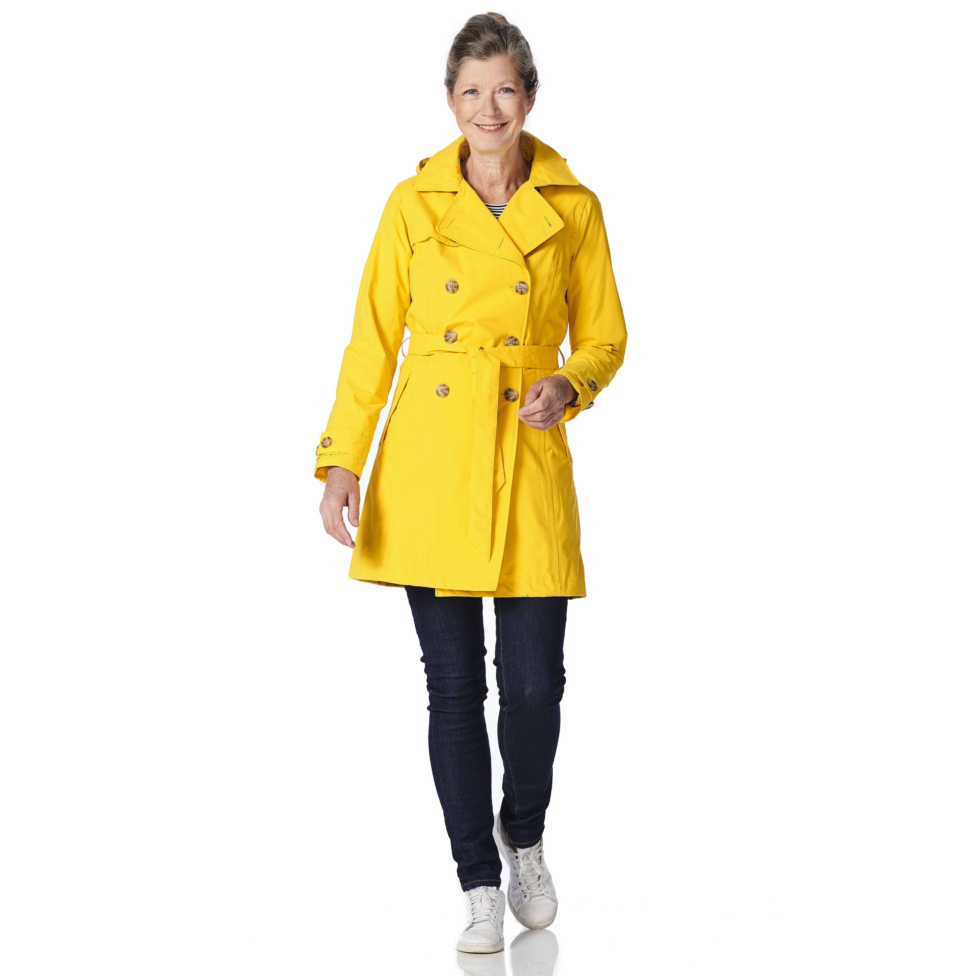 Happy Rainy Days Trench Coat, Yellow, Color: Yellow, Size: L image 3