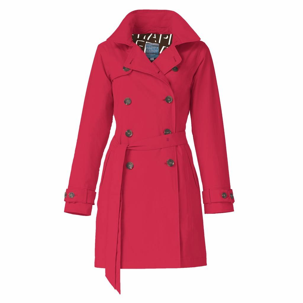 Happy Rainy Days Trench Coat, Red, Color: Red, Size: XXL