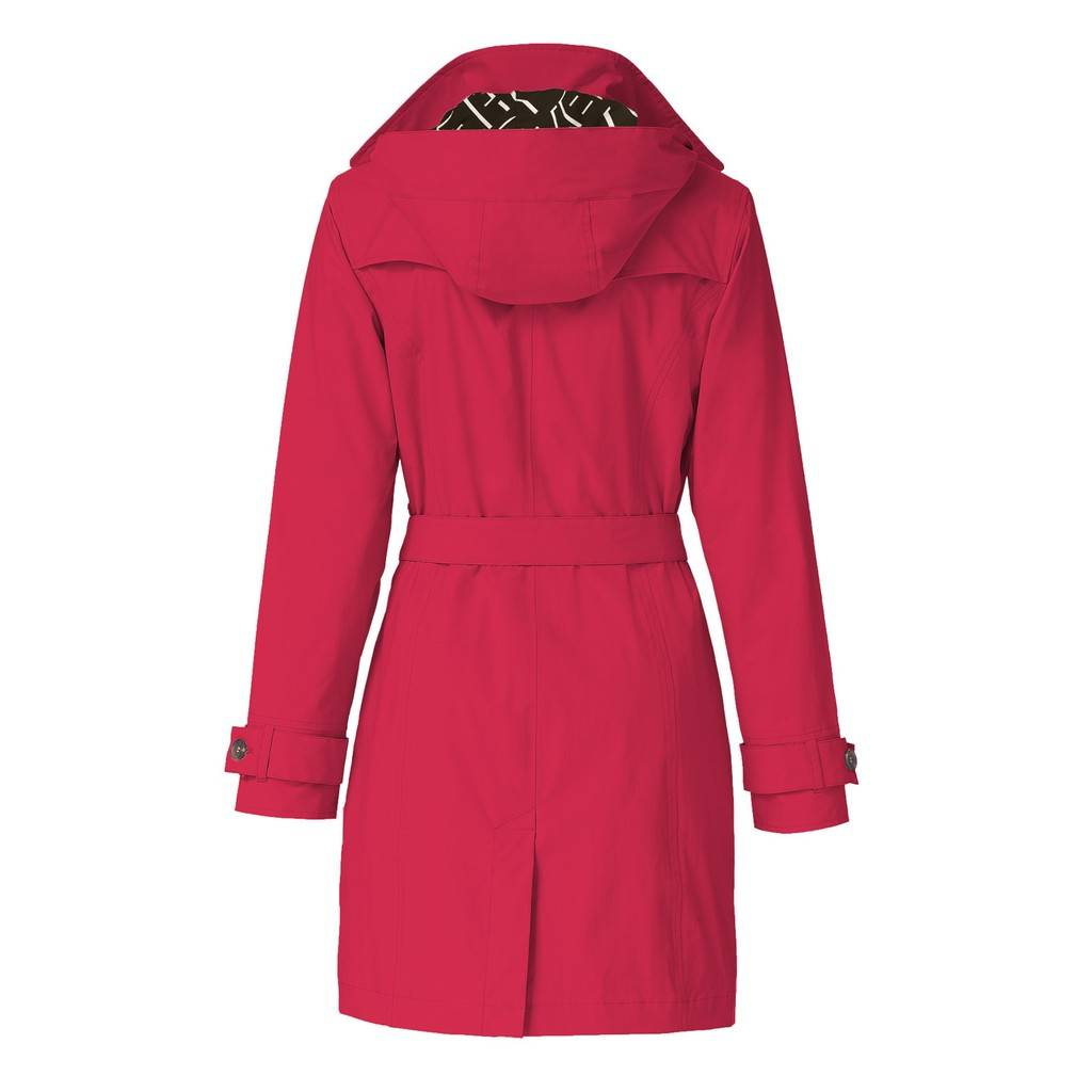 Happy Rainy Days Trench Coat, Red, Color: Red, Size: M image 2
