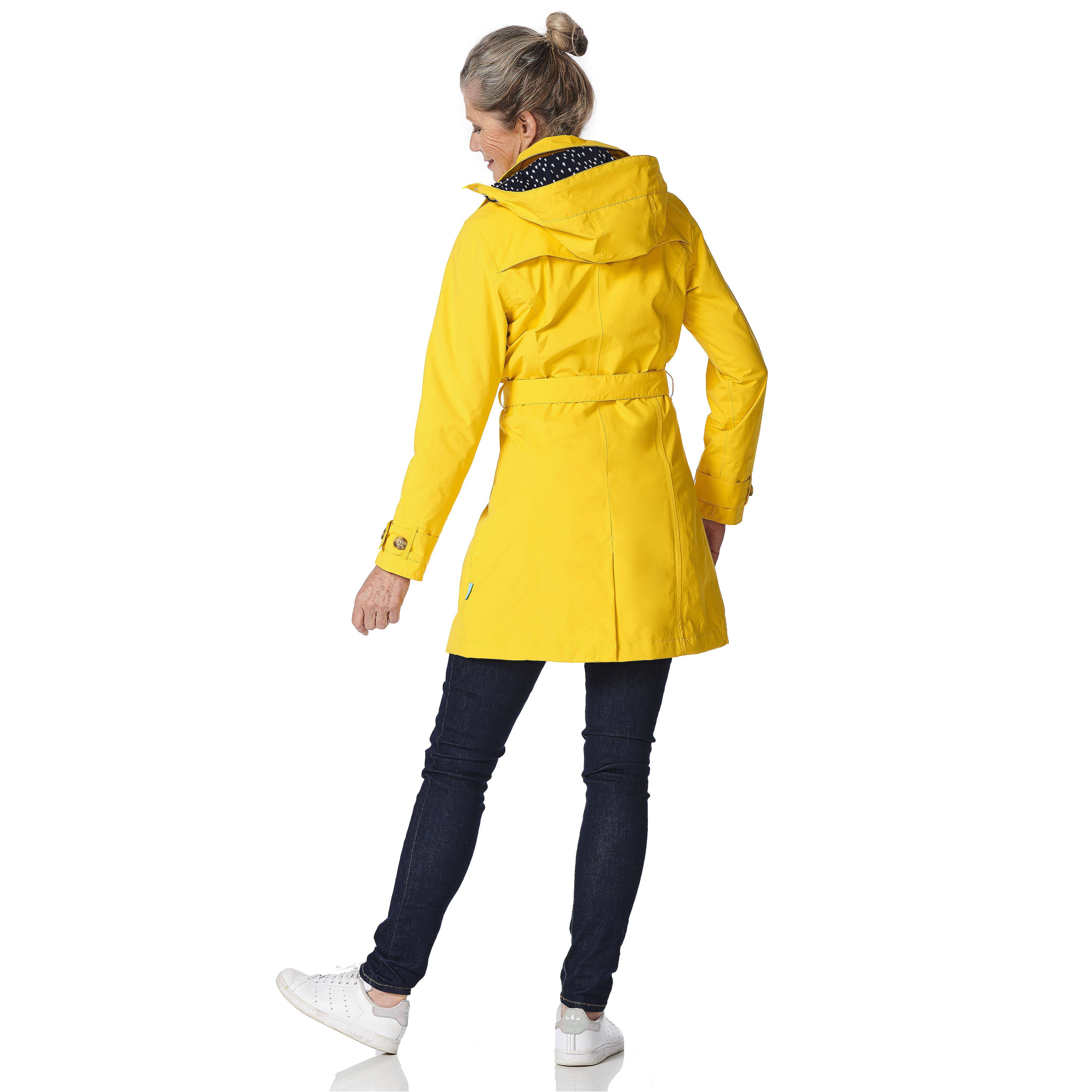 Happy Rainy Days Trench Coat, Yellow, Color: Yellow, Size: L image 4