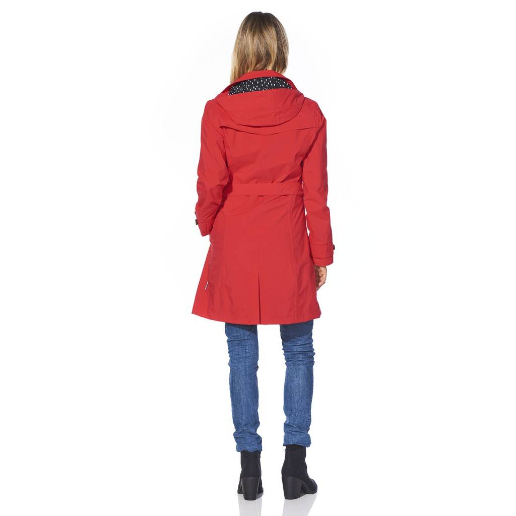Happy Rainy Days Trench Coat, Red, Color: Red, Size: XL image 4