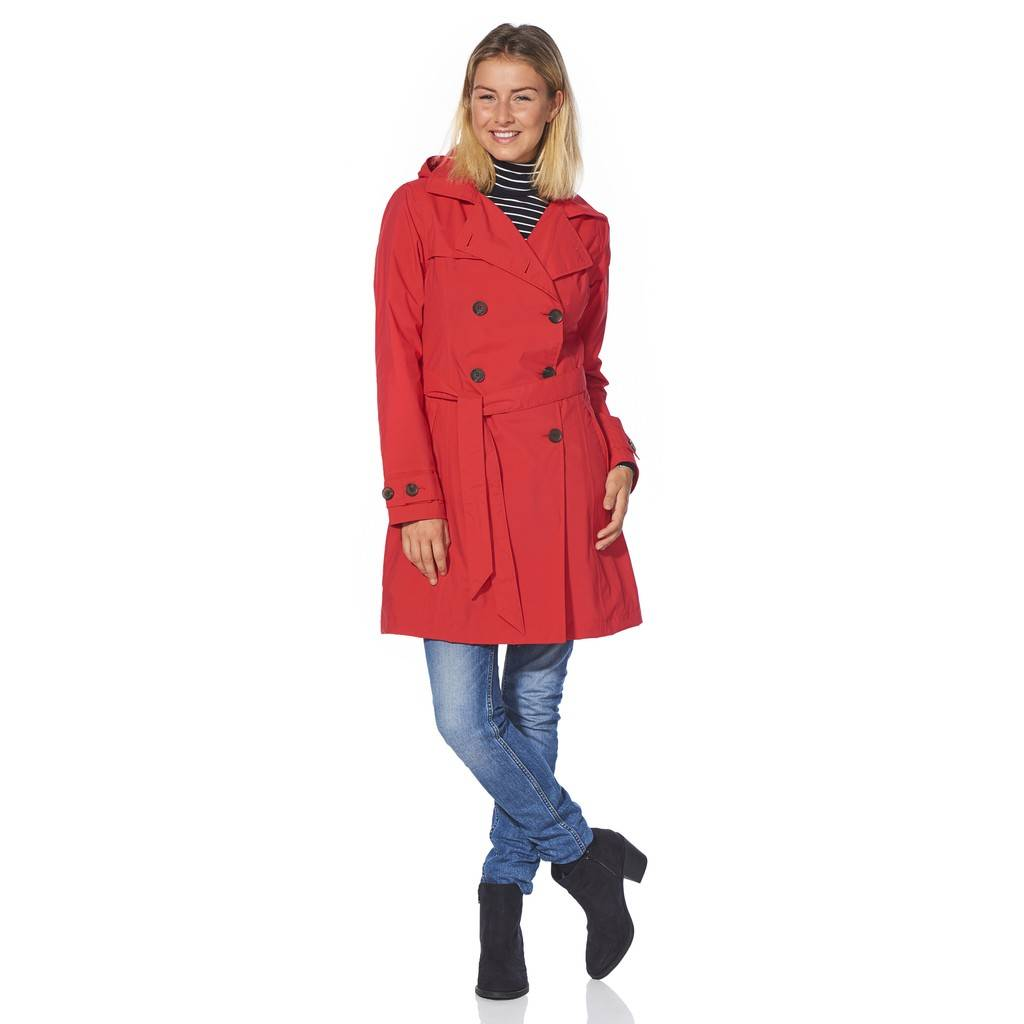 Happy Rainy Days Trench Coat, Red, Color: Red, Size: M image 3
