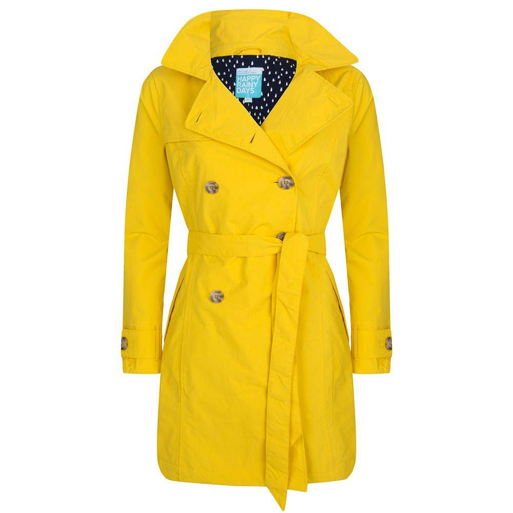 Happy Rainy Days Trench Coat, Yellow, Color: Yellow, Size: S