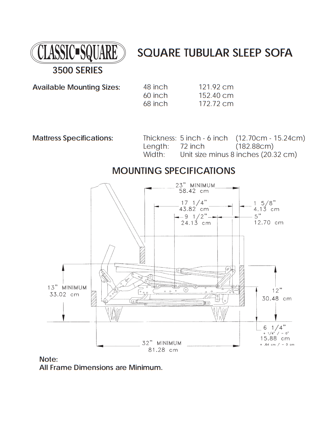 "Classic 3500 Series Replacement Sleeper Sofa Mechanism with Air Dream Mattress Savings Package, Size: 68"" image 9"