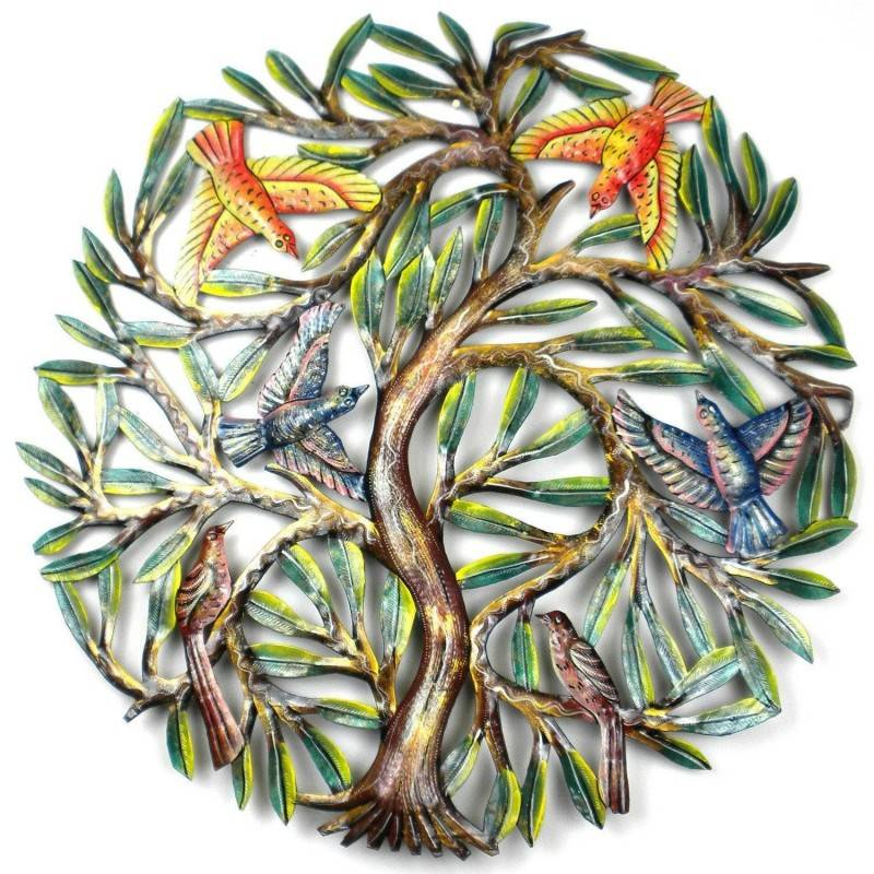 24 inch Painted Tree with Birds - Croix des Bouquets image 2