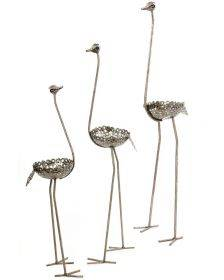 Tall Recycled Metal Ostrich Planter, Large
