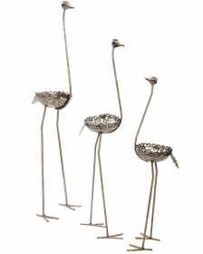 Tall Recycled Metal Ostrich Planter Package | All Three Sizes!