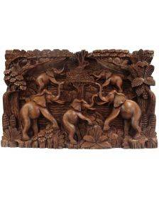 Bali Artisan Panels - Elephants and Volcano