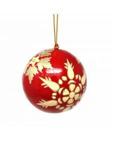 Handpainted Red and Gold Snowflake Papier Mache Hanging Ball Ornament