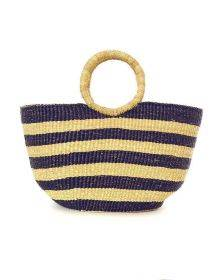 Blue and Natural Striped Basket with Loop Handles