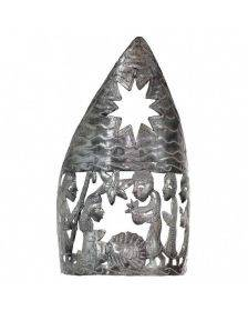 """Tabletop Nativity Scene with Candle Holder (13"""" x 7"""") - Croix des Bouquets (H)"""