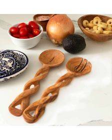 8-Inch Hand-Carved Kenyan Salad Serving Set - Jedando Handicrafts