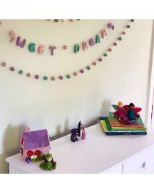 Hand Crafted Felt from Nepal: Sweet Dreams Garland, Pink/Lavender/Turquoise - Global Groove