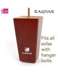 "Leg Daddy TruFitLeg Ragnar - 6"" Medium Finish Square Tapered Sofa Legs, Fits on All Furniture with Hanger Bolt Attachments"