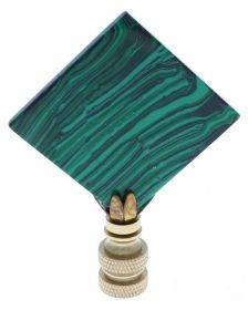 Art Finial - Square Green Malachite with Brass Base, Set of 2, Mini Works of Art, Update Your Lamps!