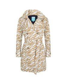 Happy Rainy Days Trench Coat, Beige and White Zebra Pattern, Color: Beige/White Zebra, Size: S