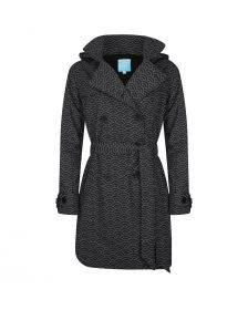 Happy Rainy Days Trench Coat, Black with White Pattern, Color: Black/White Pattern, Size: S
