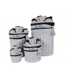 Anne Home - Set of 4 Oval Willow Baskets With Bear Design