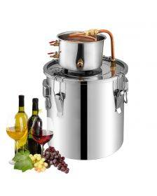 Cucina Chef Alcohol Wine Distiller | 2.5 Gallon 10L | Moonshine Still with Copper Pipe | Stainless Steel