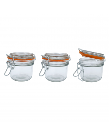 5 oz. Mini Hermes Jars with Air-Tight Clamp Top Lid, Set of 3