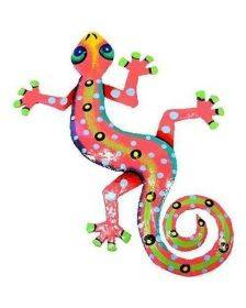 Eight Inch Pink Metal Gecko - Caribbean Craft