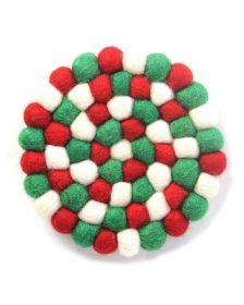 Hand Crafted Felt Ball Coasters from Nepal: 4-pack, White Christmas Multicolor - Global Groove (T)