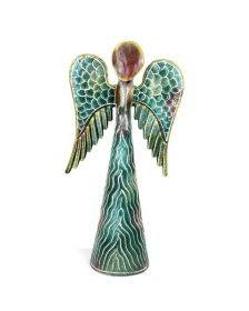 12-inch Hand Painted Metalwork Angel - Green - Croix des Bouquets (H)