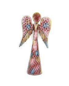 12-inch Hand Painted Metalwork Angel - Pink - Croix des Bouquets (H)