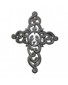 """Metal Cross Wall Art, Ornate with Nativity Scene (9.5"""" x 12"""") - Croix des Bouquets (H)"""